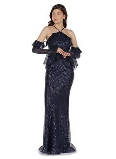 Carmen Carmen Lacivert Payetli Balık Uzun Kollu Abiye Elbise